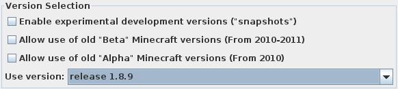Choix de la version de Minecraft à utiliser